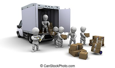 3D Render of men packing boxes for shipment