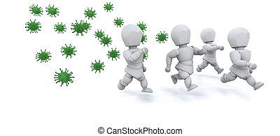 3d render of men running away from bacteria