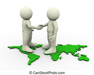 3d render of men standing on world map and shaking hand. 3d illustration of human character.
