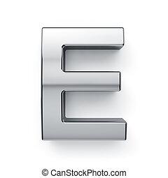 3d render of metalic alphabet letter simbol - E. Isolated on...