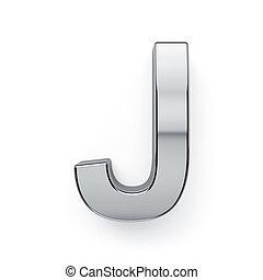 3d render of metalic alphabet letter simbol - J. Isolated on white background