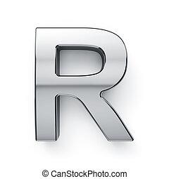 3d render of metalic alphabet letter simbol - R. Isolated on...