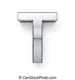 3d render of metalic alphabet letter simbol - T. Isolated on...