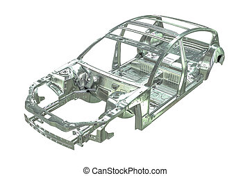3D render of metalic car body frame isolated on white