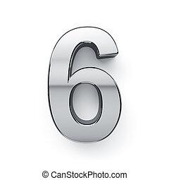 3d render of metalic digit six simbol - 6