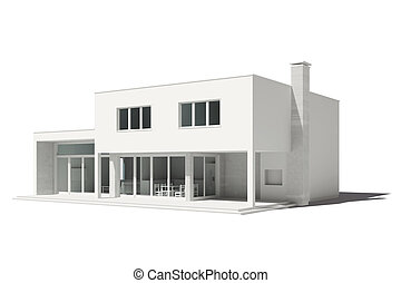 3d render of modern house on white