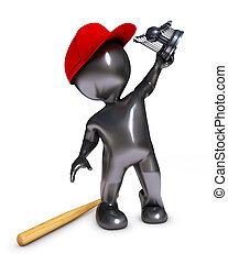 morph man playing baseball