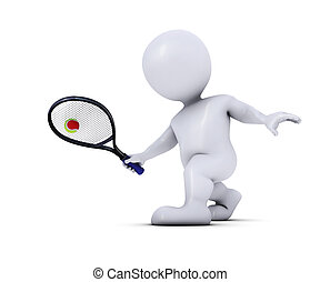 Morph Man Playing Tennis