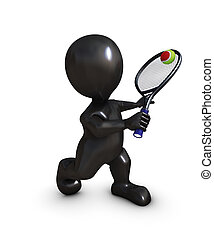 Morph Man Playing Tennis