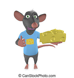 mouse with a piece of cheese on hand