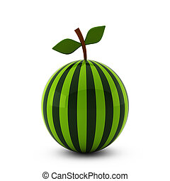 3d render of nice watermelon isolated on white
