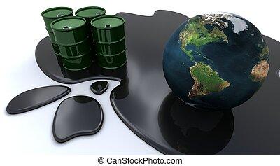 Oil drums and globe sat in spilt oil - 3D render of Oil...