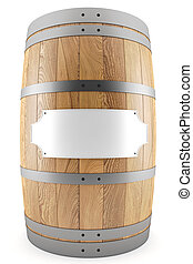 wine barrel with label - 3d render of one wine barrel with...