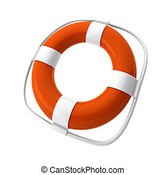 3d render of orange lifebuoy on white