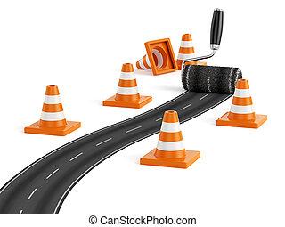 Road construction concept - 3d render of painting the road ...