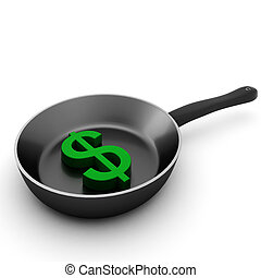 3d render of pan with green dollar
