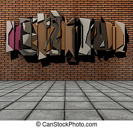3d render of pavement and floating graffiti on grunge brick wall