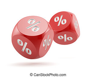 Finance concept - 3d render of percent dices falling....