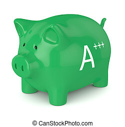 3d render of piggy bank with A+++ energy efficiency class -...