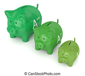 3d render of piggy bank with A++ energy efficiency class...