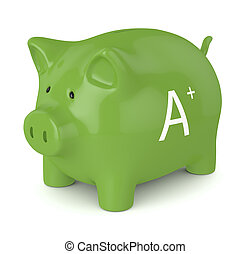 3d render of piggy bank with A+ energy efficiency class...