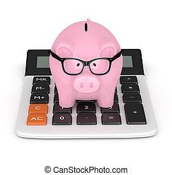 3d render of piggy bank with clock - 3d render of pink piggy...