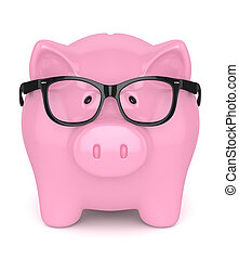 3d render of piggy bank with glasses over white background