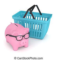 3d render of piggy bank with shopping basket. Saving money...
