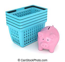 3d render of piggy bank with shopping baskets. Saving money...