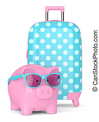 3d render of piggy bank with siutcase over white - 3d render...