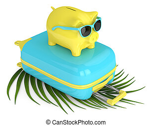 3d render of piggy bank with suitcase and beach ball over...