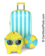 3d render of piggy bank with suitcase over white background