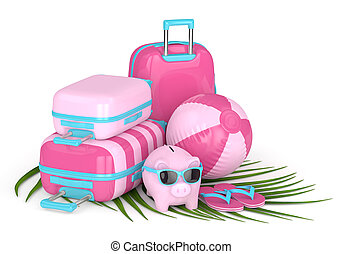 3d render of piggy bank with suitcases and beach ball over...