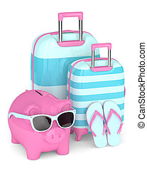 3d render of piggy bank with suitcases and flip flops over...