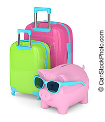 3d render of piggy bank with suitcases over white background