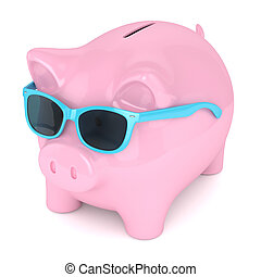 3d render of piggy bank with sunglasses over white...