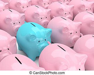 3d render of piggy banks in row - 3d render of pink piggy...