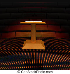 3d render of podium with an open book