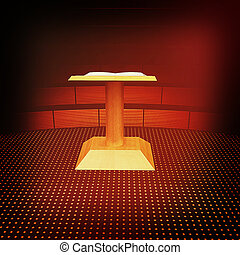 3d render of podium with an open book . 3D illustration. Vintage style.
