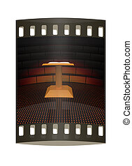 3d render of podium with an open book . The film strip