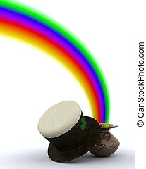 st patricks day - 3d render of rainbow and pot of gold for ...