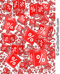 3d Render of red dice, marked with percentage sign, falling.
