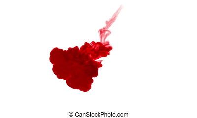 3d render of red ink dissolve in water, simulation of ink...