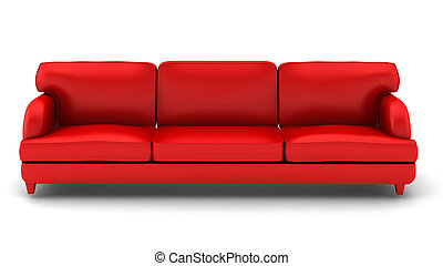 3d render of red leather sofa on white