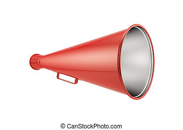 red megaphone - 3d render of red megaphone isolated on white...