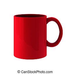 3d render of red mug