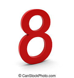 3d render of red number eight on white
