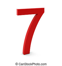 3d render of red number seven on white