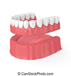 3d render of removable full denture