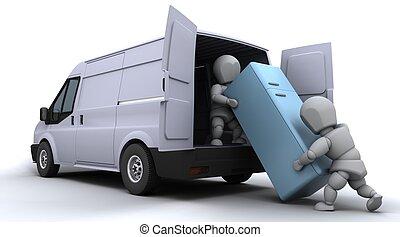 removal men loading a van - 3D render of removal men loading...